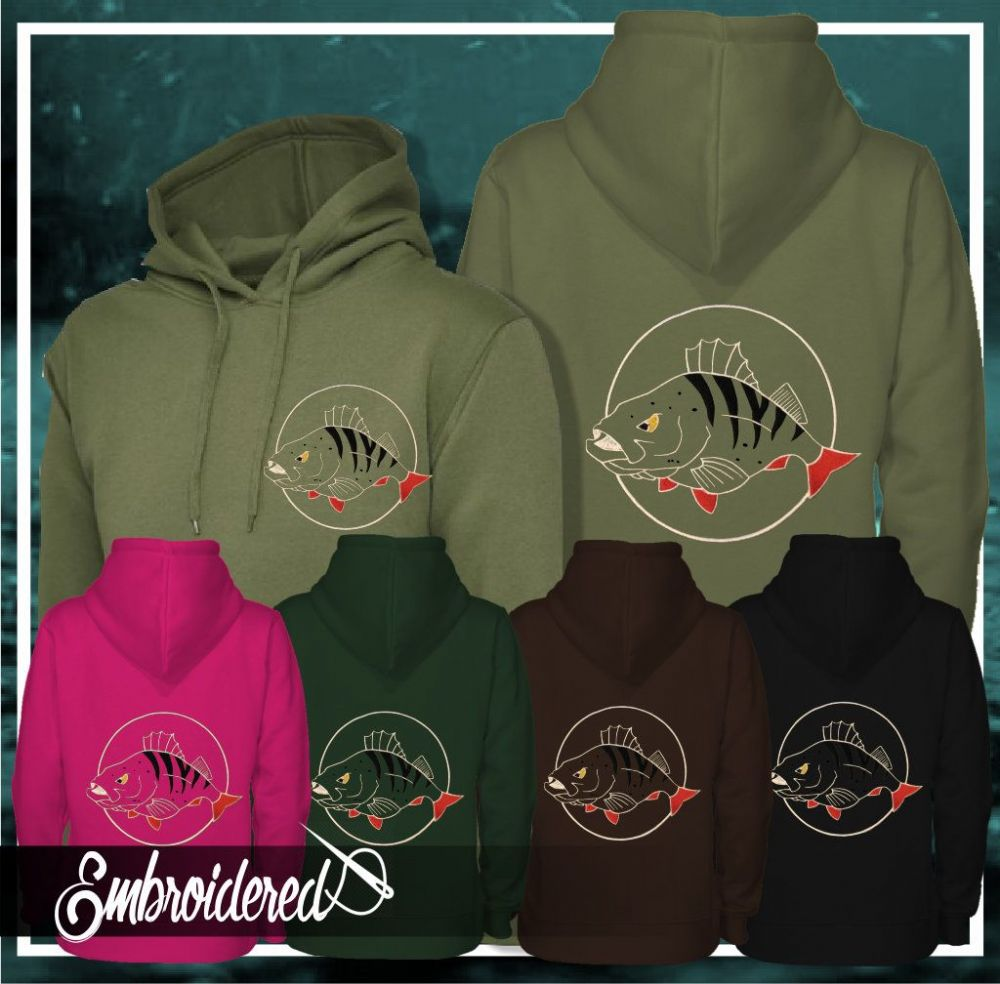 032 EMBROIDERED PERCH FISHING HOODIE